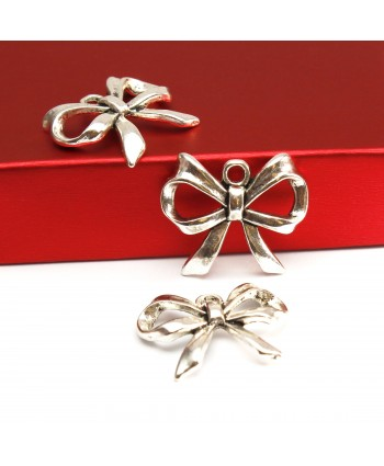 Bow Charm Silver 19mm x 22mm