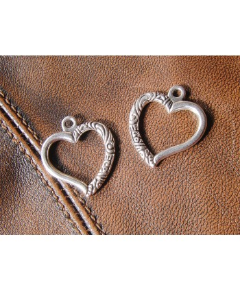 Heart Charm Silver 22mm x 24mm