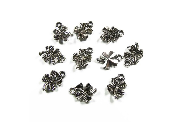 Clover Charm Silver 15mm x 10mm