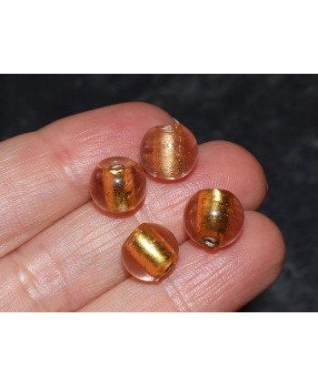 Round Gold Foil Glass Bead 8mm