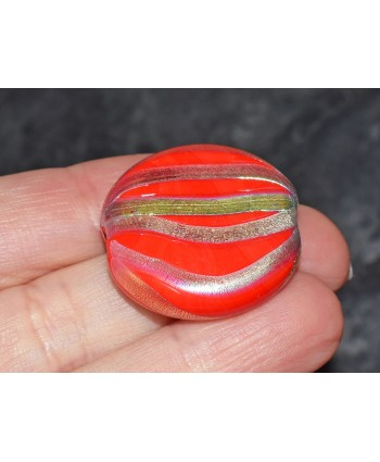 Hand Painted Glass Flat Disc - Red