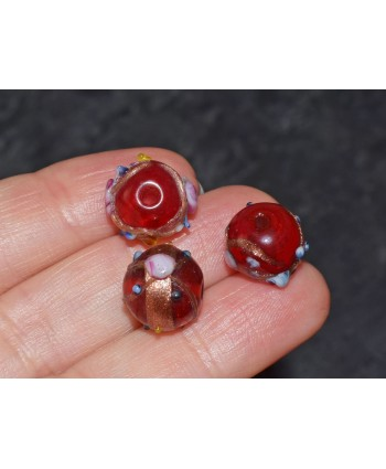 Round Venetian Style Glass Bead 10mm - Red